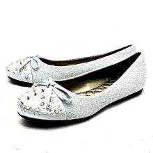 Load image into Gallery viewer, Sparkly spiked toe cap flat shoes with bow