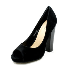 Load image into Gallery viewer, Suedette peep toe high block heel court shoes - CLEARANCE