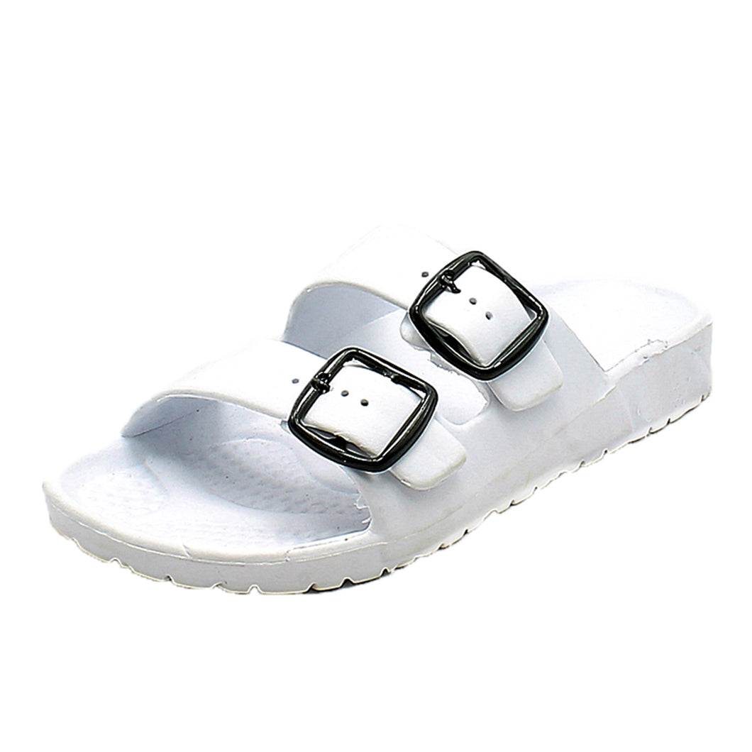 Rubber double strap flat sandals