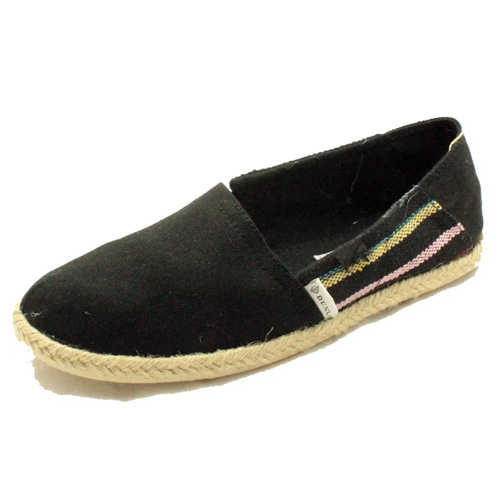 Canvas espadrilles / pumps with side stripes