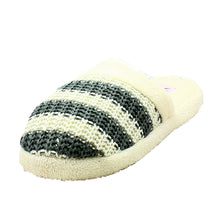 Load image into Gallery viewer, Striped soft feel knitted open back slippers
