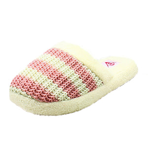 Striped soft feel knitted open back slippers