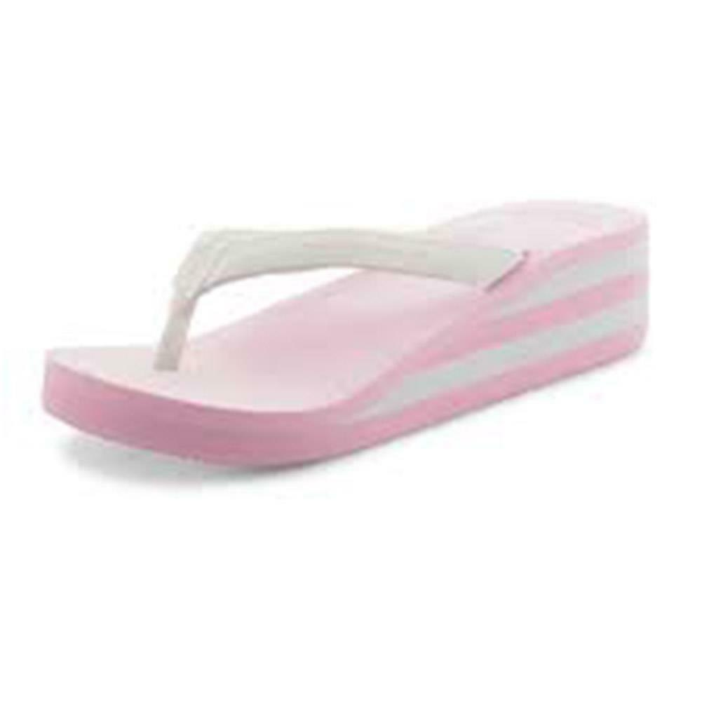 Pink / white wedge heel foam sandals with toe post