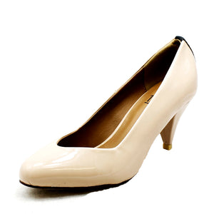 Low heel pointy toe court shoes with heel detail