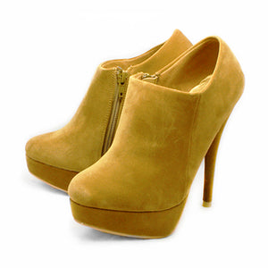 Camel Concealed platform high faux Suede ankle boots