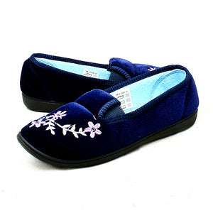 Velour elasticated side embroidered slippers