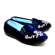 Load image into Gallery viewer, Velour elasticated side embroidered slippers