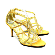 Load image into Gallery viewer, Satin high heel evening shoes with sparkly detail