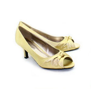 Satin peep scrunched toe kitten heel shoes