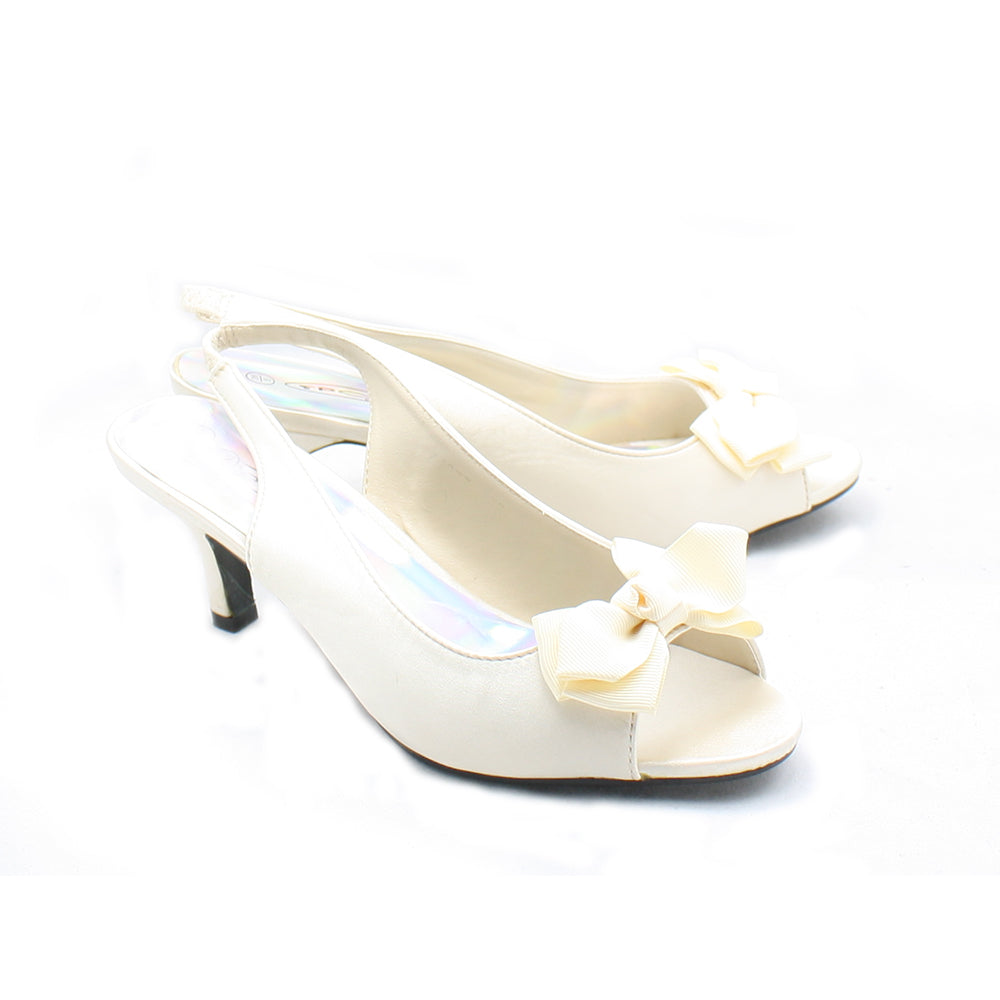 Satin kitten heel sling back bow front party shoes