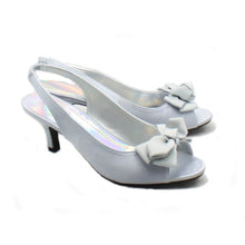 Load image into Gallery viewer, Satin kitten heel sling back bow front party shoes