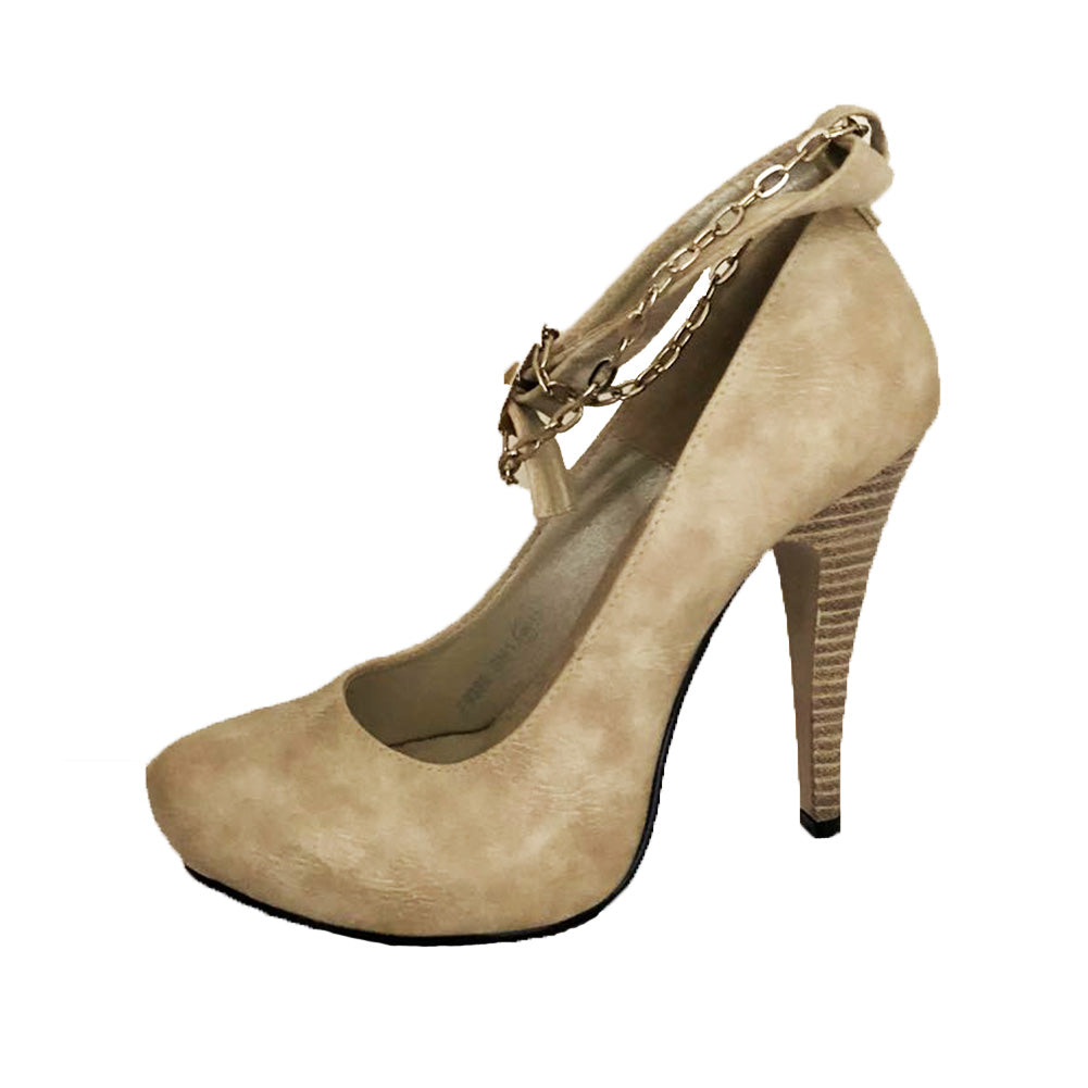 Beige Mottled high heel court shoes with ankle strap and chain