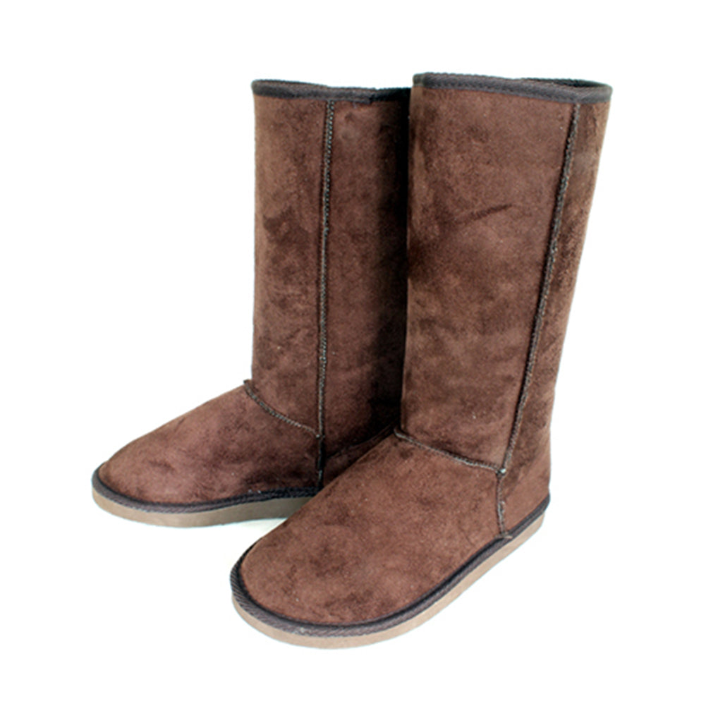 Dark Brown Fur lined flat upper calf length suedette boots - CLEARANCE