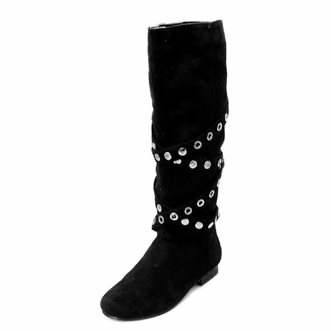 Black suedette studded strap flat boots - CLEARANCE
