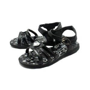 Black flat strappy sandals with heart jewel