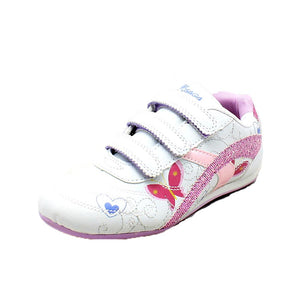 Girls White pink adjustable fastening trainers with sparkly butterfly