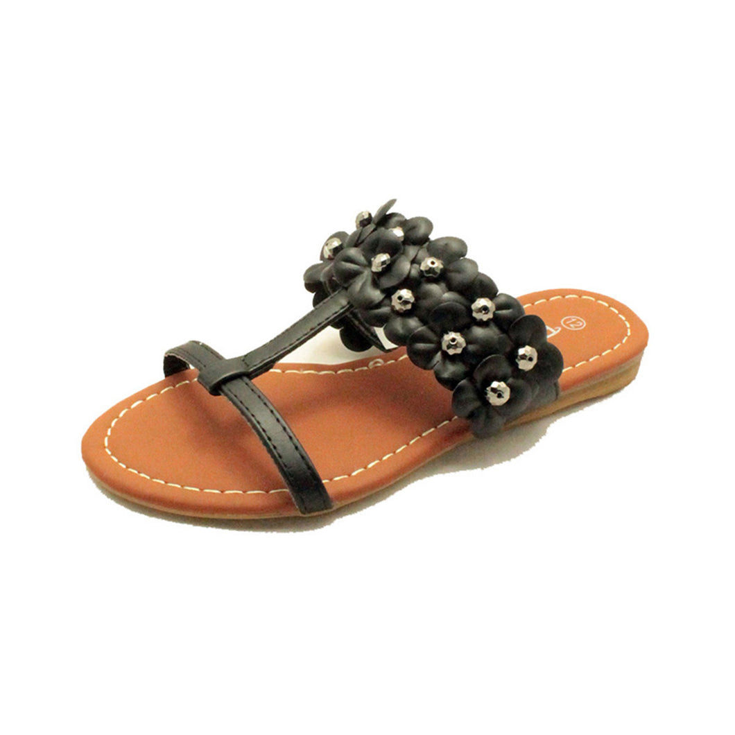 Black flower strap flat sandals Girls / Childrens