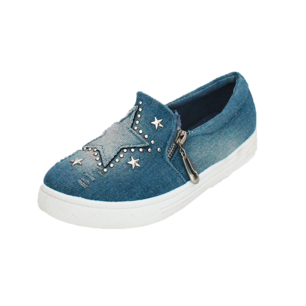 Childrens Blue stonewashed denim pumps with star to front