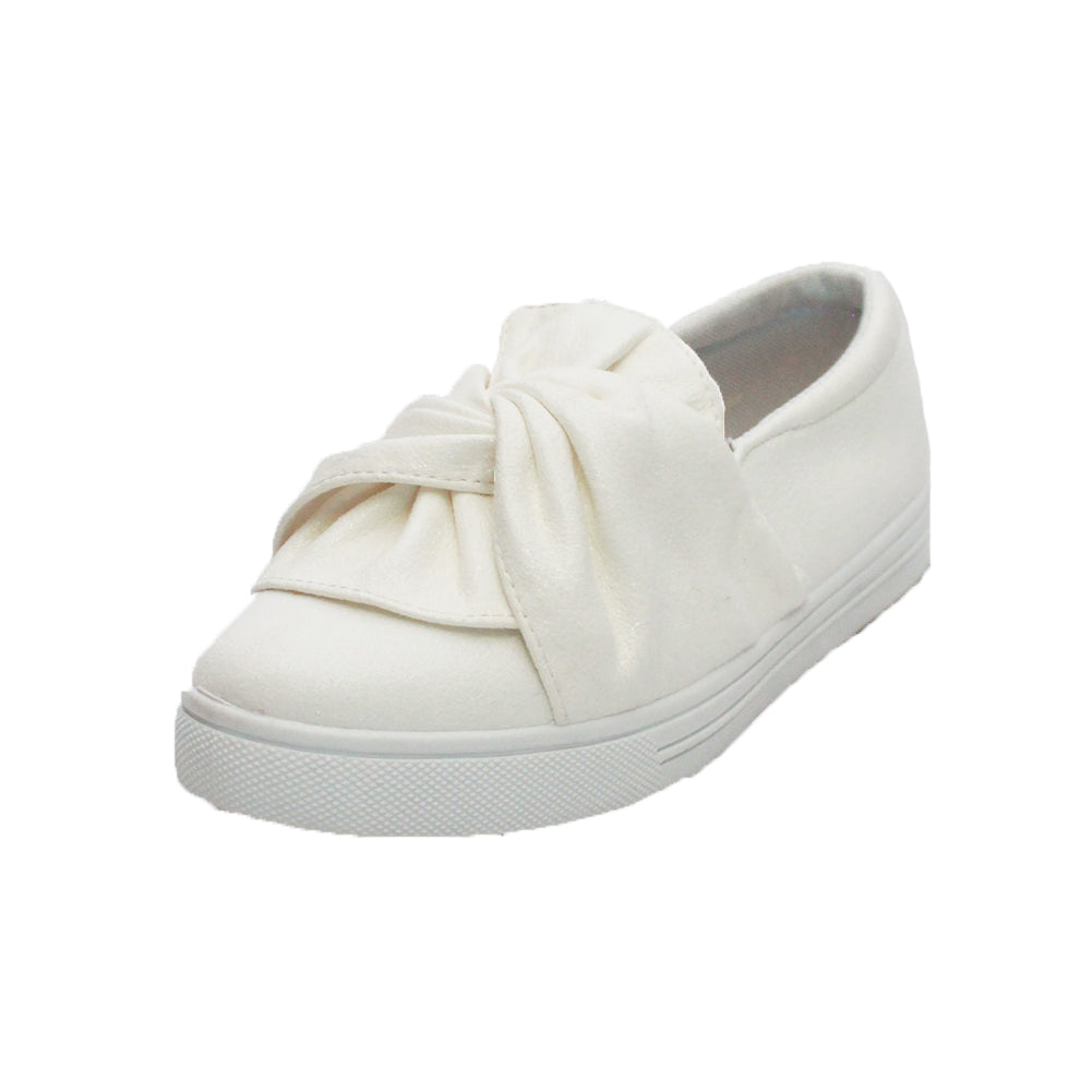 Childrens White suedette slip on shoes with fixed bow / sash to front