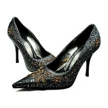 Load image into Gallery viewer, Pointed Toe beaded stiletto court shoes