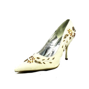 Pointed Toe beaded stiletto court shoes