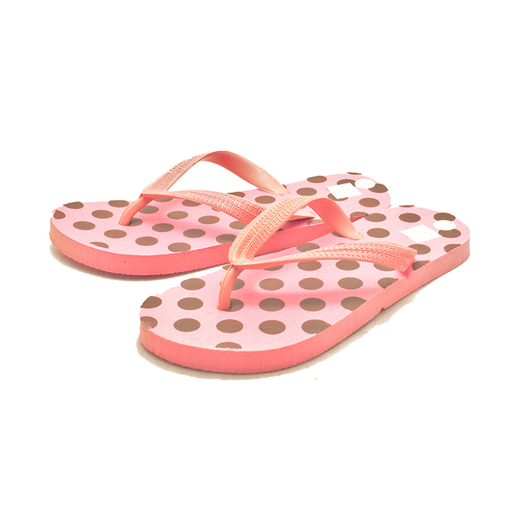 Ladies pink with brown spots comfy toe post flip flop sandals