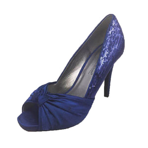 Satin and sequinned peep toe court shoes - CLEARANCE