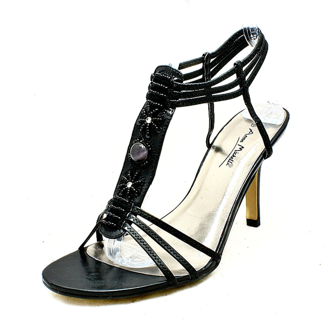 Black Beaded high heel party sandals with ankle straps