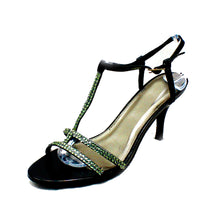 Load image into Gallery viewer, Black sparkly t-bar medium heel party / prom shoes