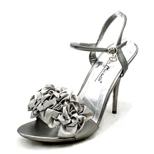 Satin ruffled front high heel party / prom shoes