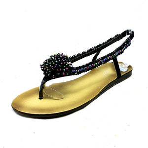 Black beaded flat sandals with rosette front