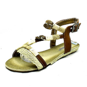 Beige rope edged flat strappy sandals