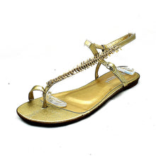 Load image into Gallery viewer, Ladies Metallic Flat leaf design strappy sandals