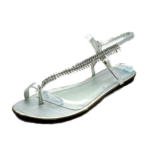 Ladies Metallic Flat leaf design strappy sandals