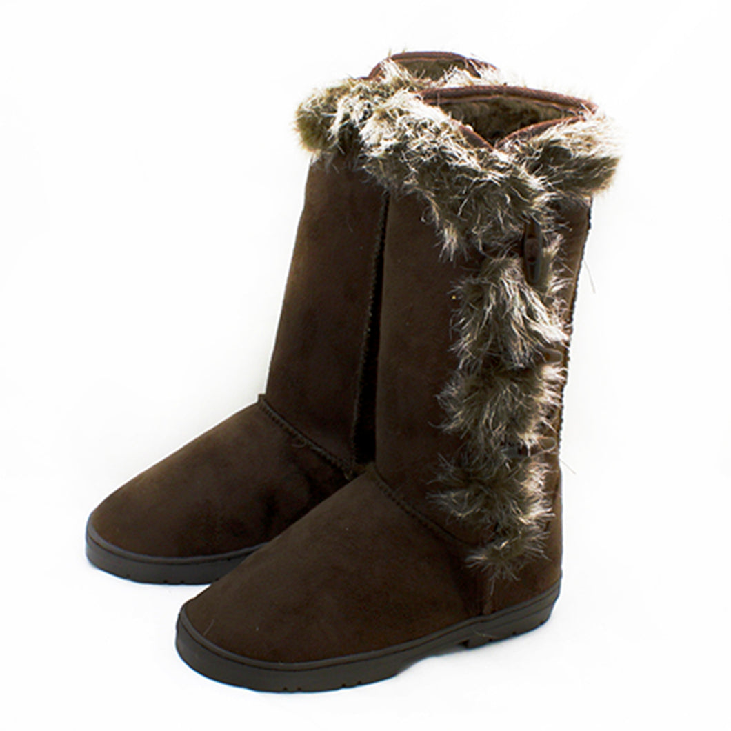 Brown Fur Edged side toggle detail calf length winter boots