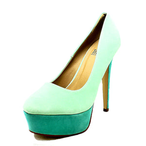Two Tone platform high heel court shoes