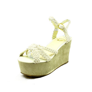 Beige platform wedge sandals / shoes with knot strap to front