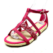 Load image into Gallery viewer, Flat strappy sandals with sequinned detail