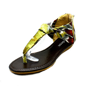 Ladies Satin multi coloured flat sandals with toe post