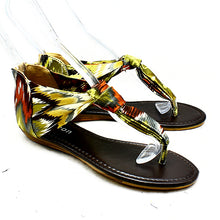 Load image into Gallery viewer, Ladies Satin multi coloured flat sandals with toe post