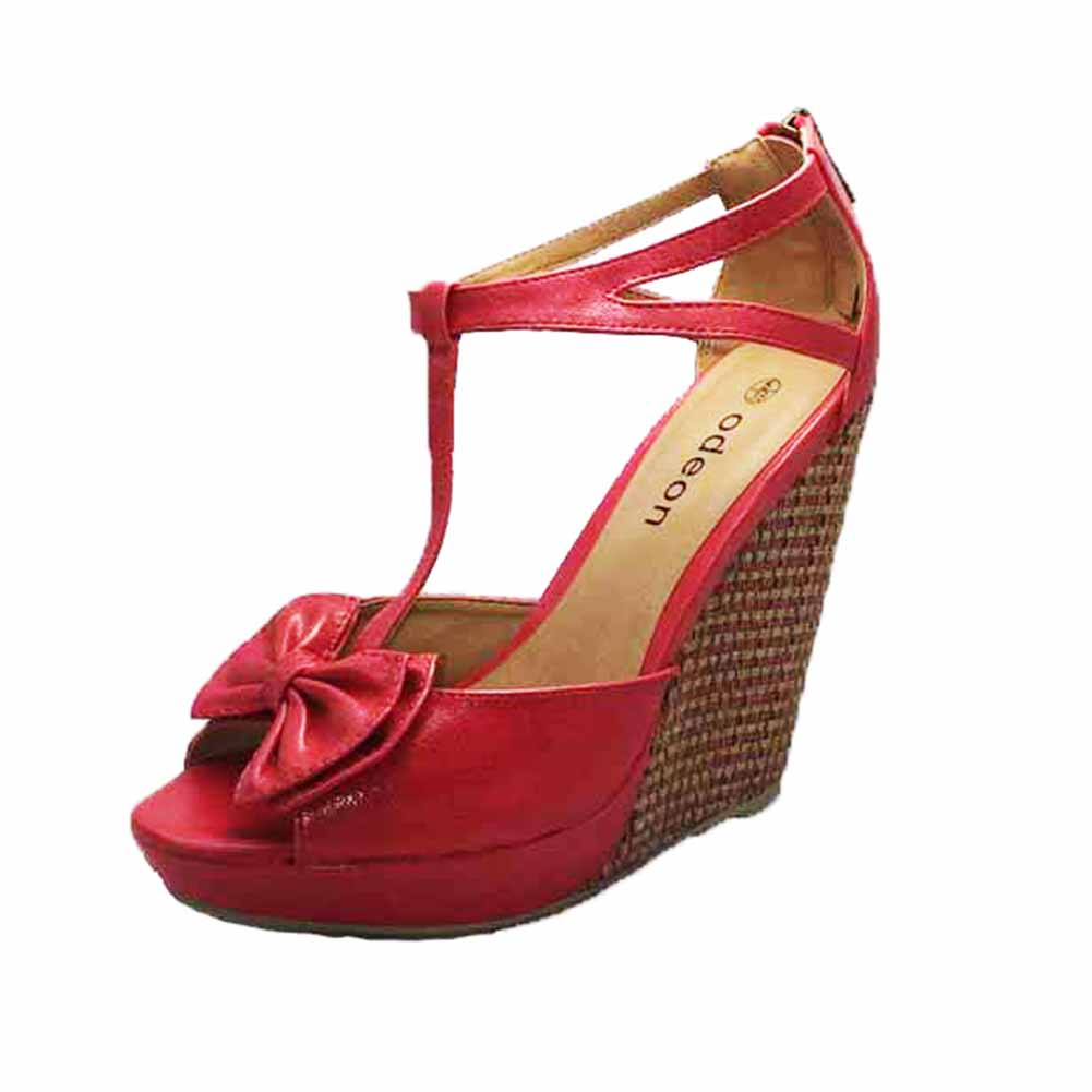 T-bar high heel wedge sandals / shoes with peep toe and bow