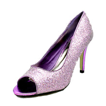 Load image into Gallery viewer, Glittery peep toe high heel party shoes