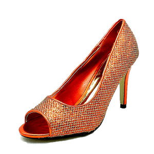 Glittery peep toe high heel party shoes