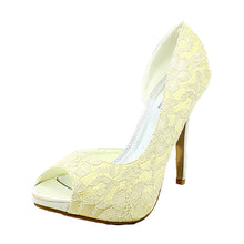 Load image into Gallery viewer, Lace covered open side and to high heel wedding shoes