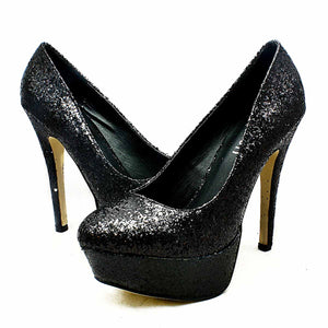 Concealed platform high heel evening shoes