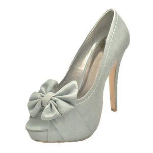 Brushed suedette high heel court shoes with large bow