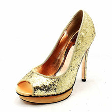 Load image into Gallery viewer, Glitter / Sparkly High heel open toe party shoes