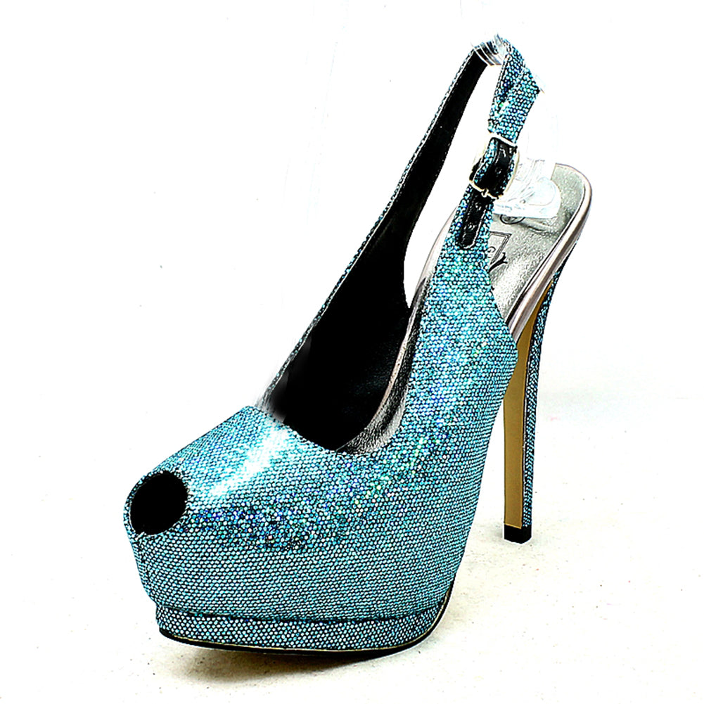 Sparkly Platform sling back party shoes with sweetheart peep toe