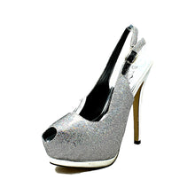 Load image into Gallery viewer, Sparkly Platform sling back party shoes with sweetheart peep toe