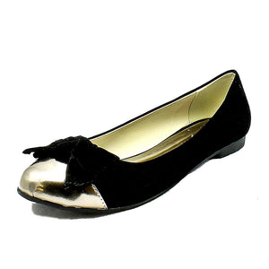 Suedette flat shoes / pumps with gold toe cap + bow
